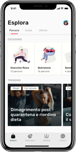 Screenshot app Welly Village sezione esplora percorsi
